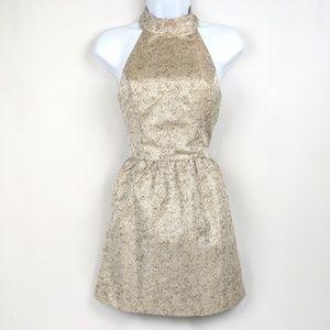 Karlie Gold High Neck Party Dress